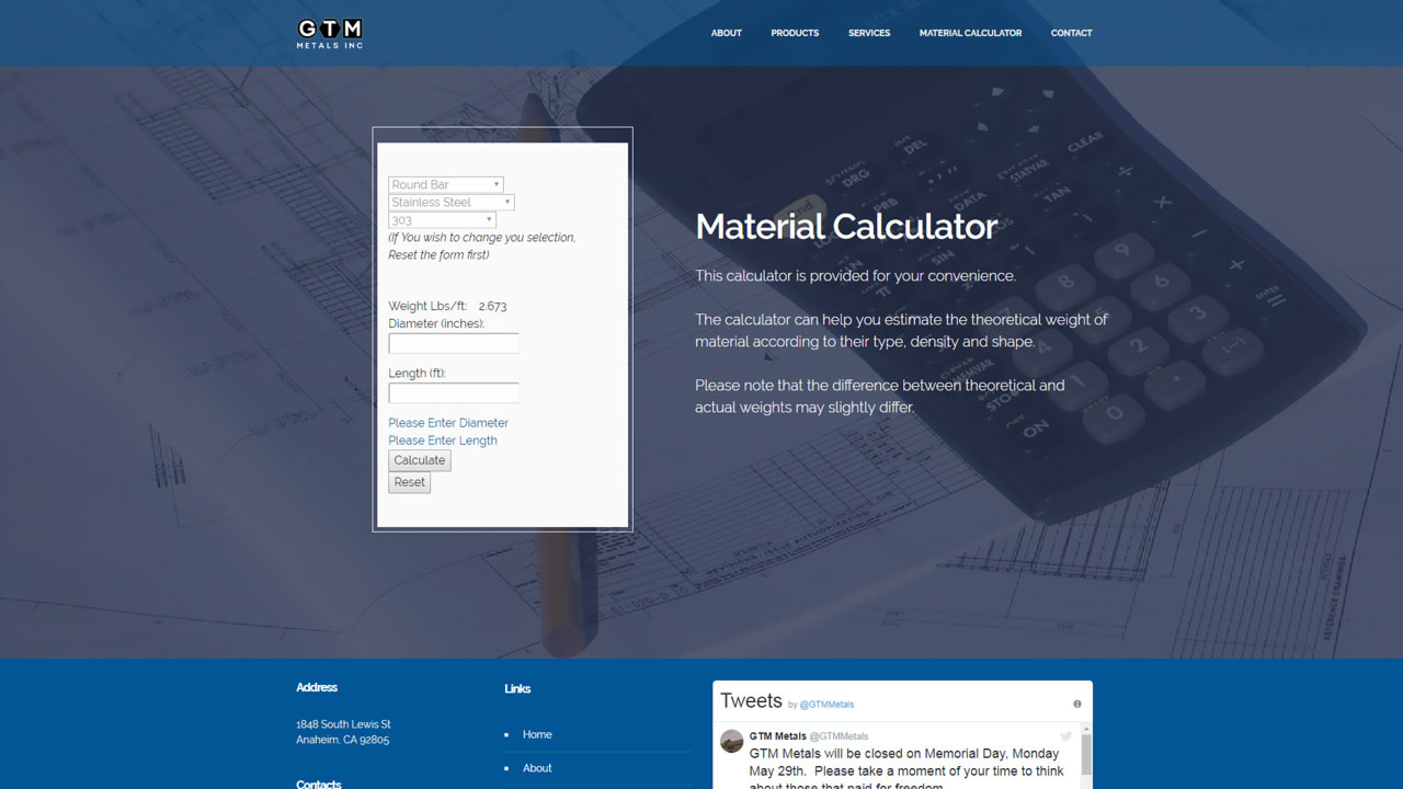 Material Distributor Material Calculator